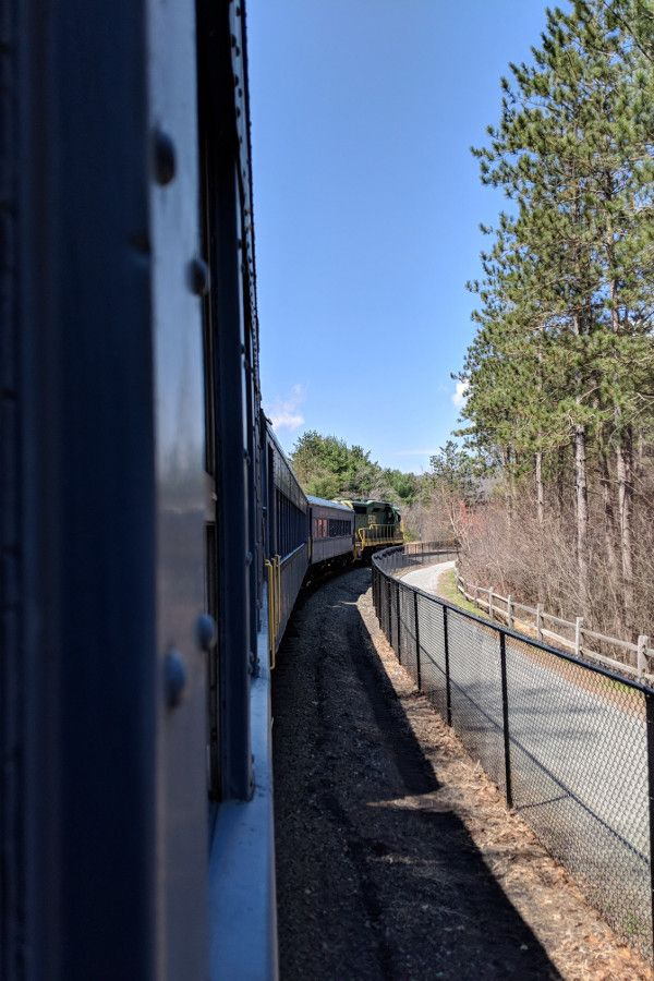 The Lehigh Gorge Scenic Railway train on the tracks.