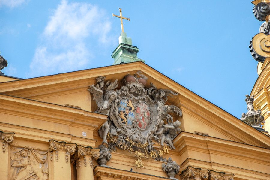 Exterior details of the Theatinerkirche in Munich, Germany.