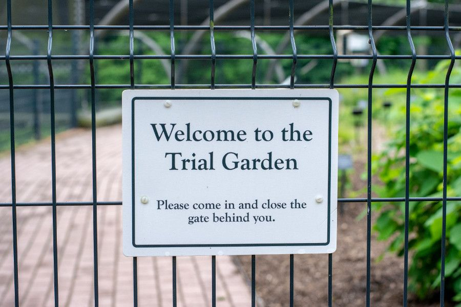 A sign for the Trial Garden at Mt. Cuba Center in Delaware.
