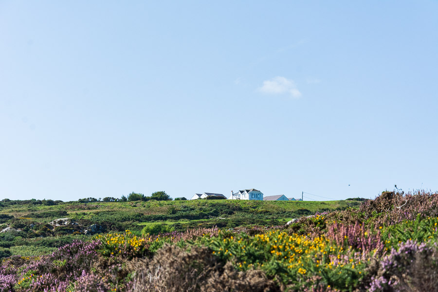 A farm and home sit atop the cliffs in Howth, Ireland.