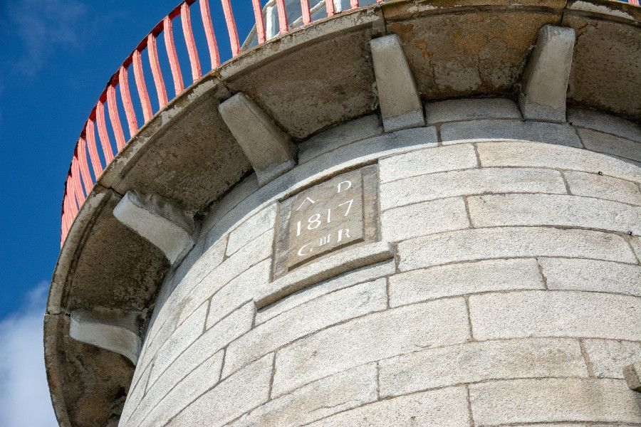 The date stone of the Howth Lighthouse at the harbor.
