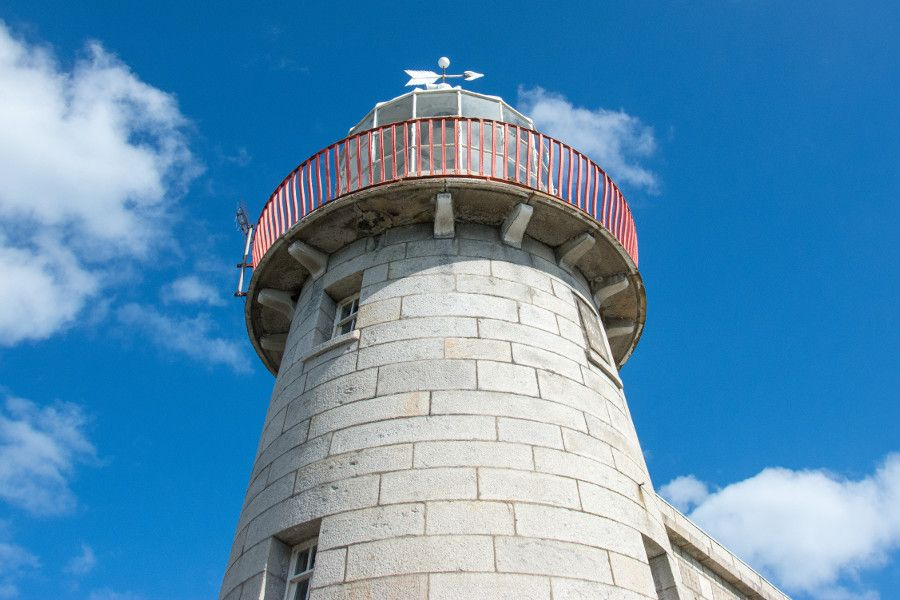 Looking up at the Howth Lighthouse.