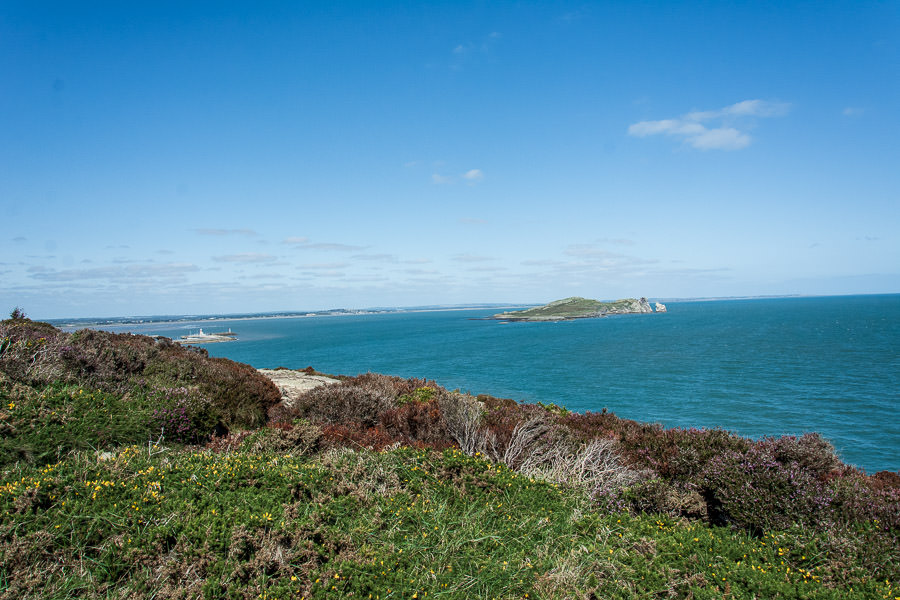A look back at the Howth Harbour and Howth Lighthouse from atop the cliffs.