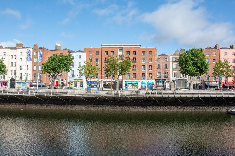 Businesses lining the River Liffey Waterfront.