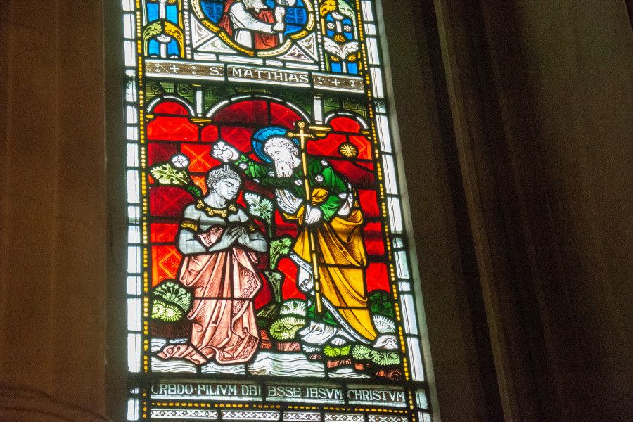 A stained glass window inside Christ Church Cathedral in Dublin, Ireland.