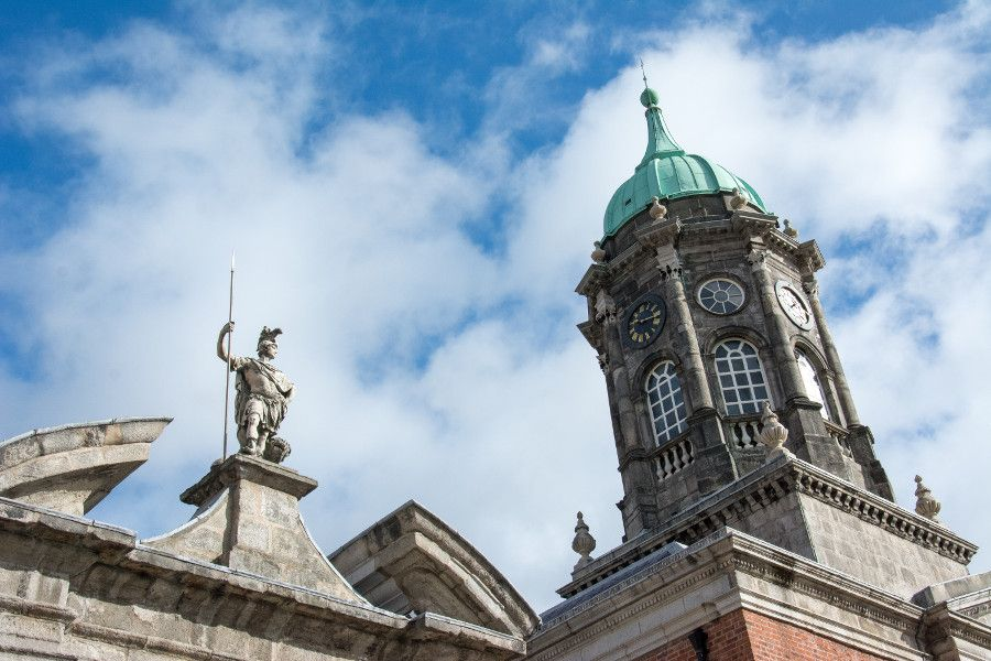 Architecture at Dublin Castle in Ireland.