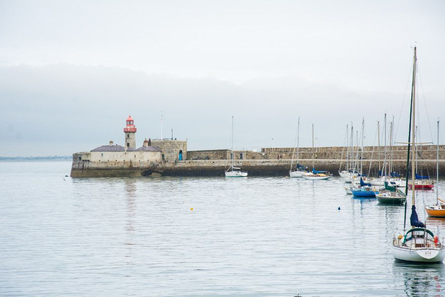 Lighthouse in the harbor in Dún Laoghaire, Ireland.