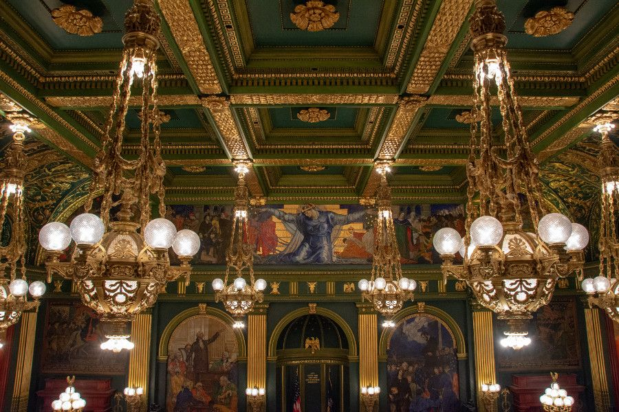 The wall murals of the Senate Chambers in the Pennsylvania Capitol Building in Harrisburg.