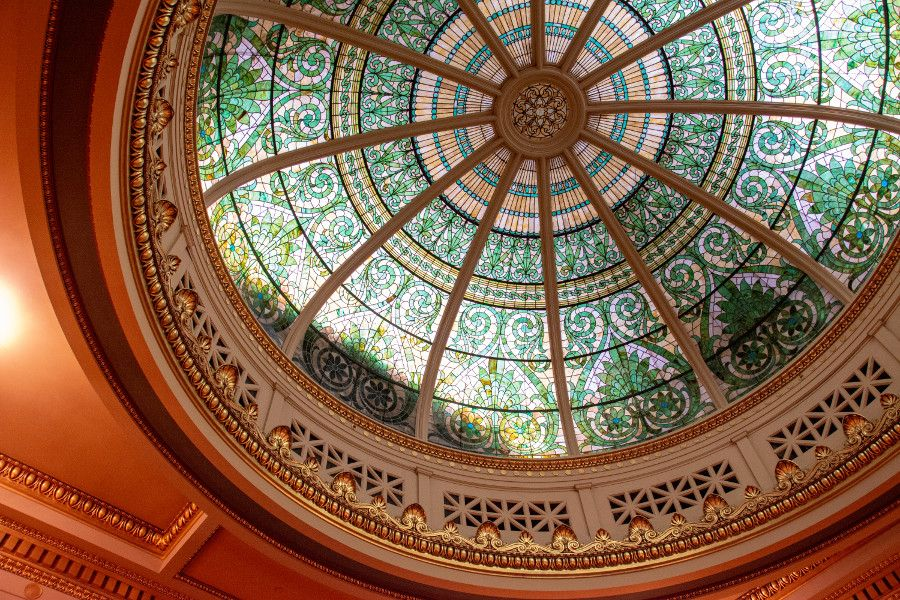 Stained glass dome of the Supreme Court Chamber of the Pennsylvania Capitol Building in Harrisburg.