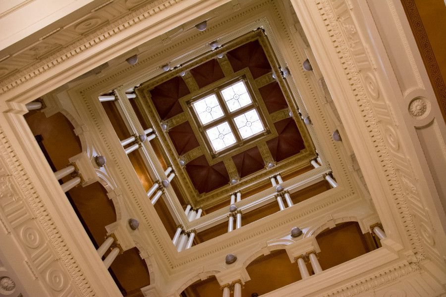 Looking up in the Pennsylvania Capitol Building in Harrisburg.