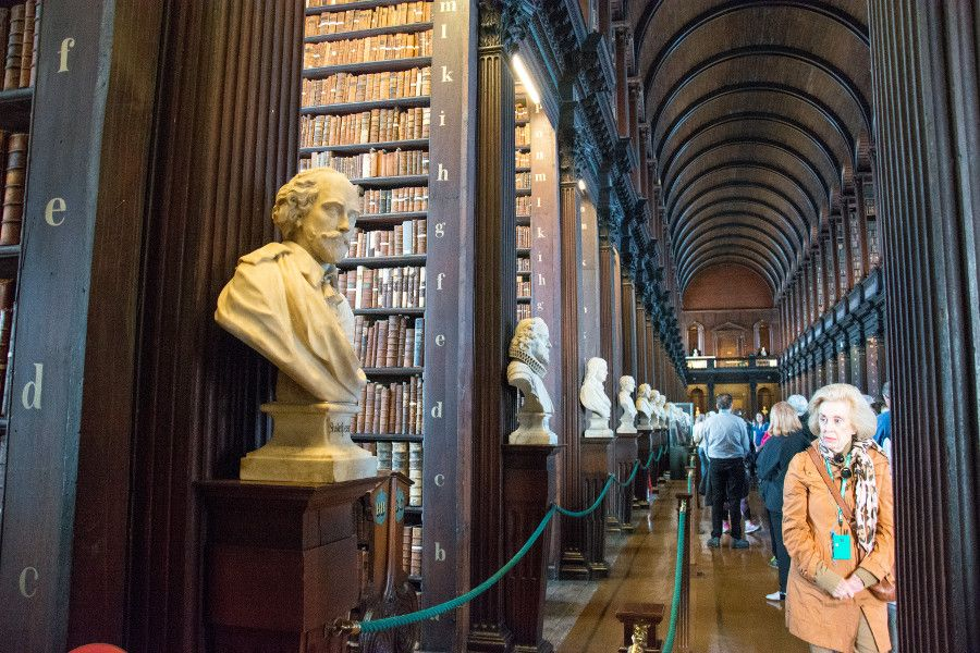 Bookshelves in the Long Hall of the library at Trinity College Dublin.