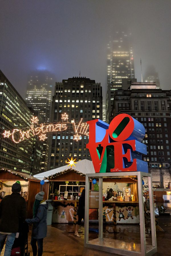 The LOVE Statue at the Christmas Village in Philadelphia.