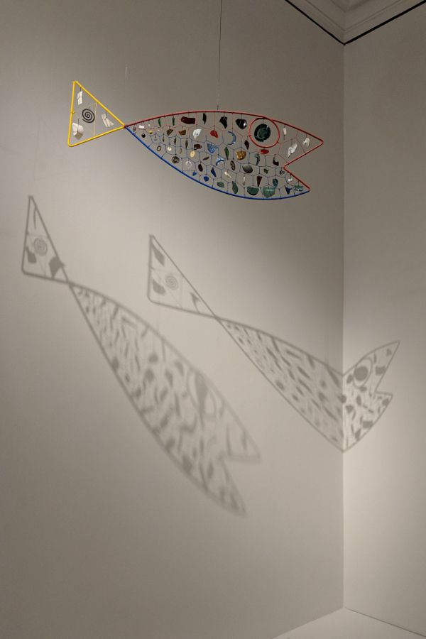 A fish mobile at the Alexander Calder: Radical Inventor exhibit at the Montreal Museum of Fine Arts.
