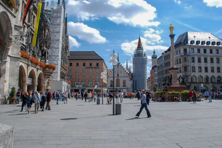 Marienplatz is Munich's central square in the heart of the city.