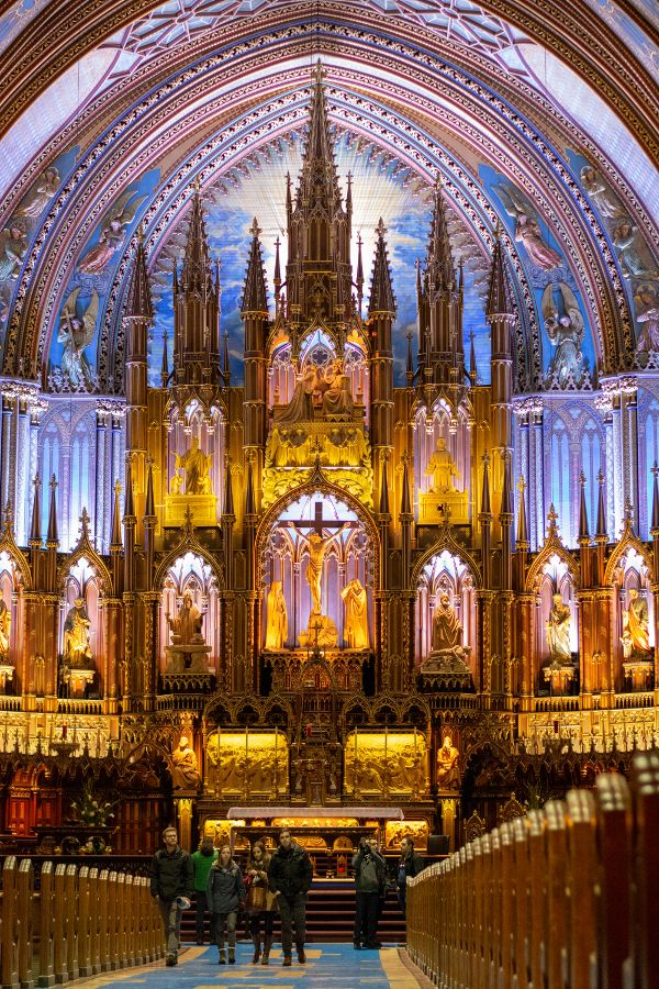 The ornate altar of the Notre-Dame Basilica in Montreal, Canada.