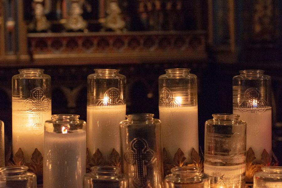 Candles inside the Notre-Dame Basilica in Montreal, Canada.