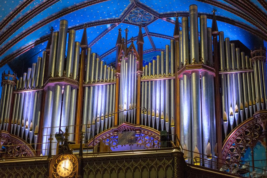 The pipe organ inside of Notre-Dame Basilica in Montreal, Canada.