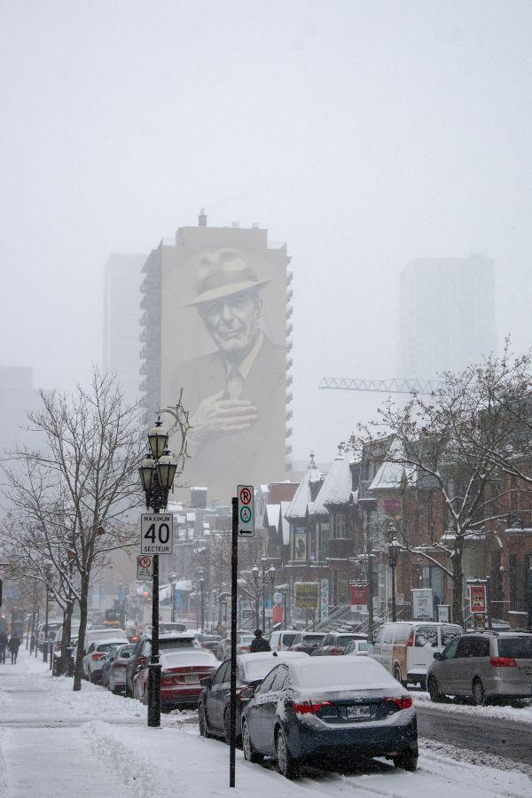 Leonard Cohen mural in Montreal, Canada.