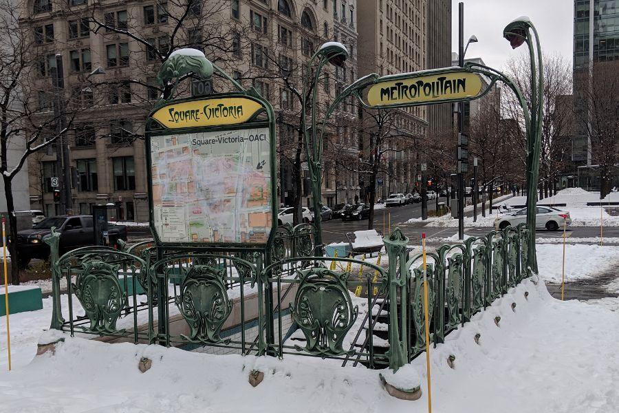 An authentic Parisian metro at Victoria Square in Montreal.