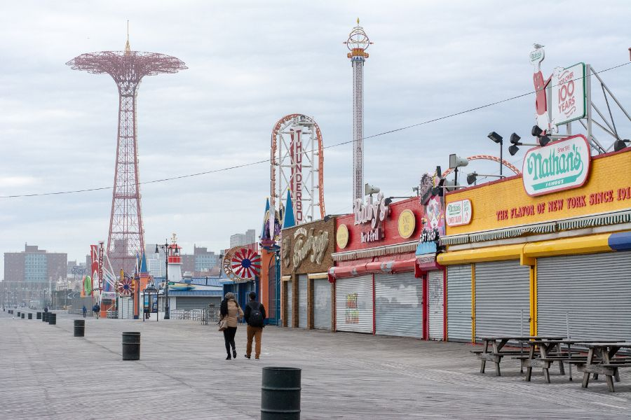 A walk along the boardwalk is one fun thing to do in Coney Island in winter.