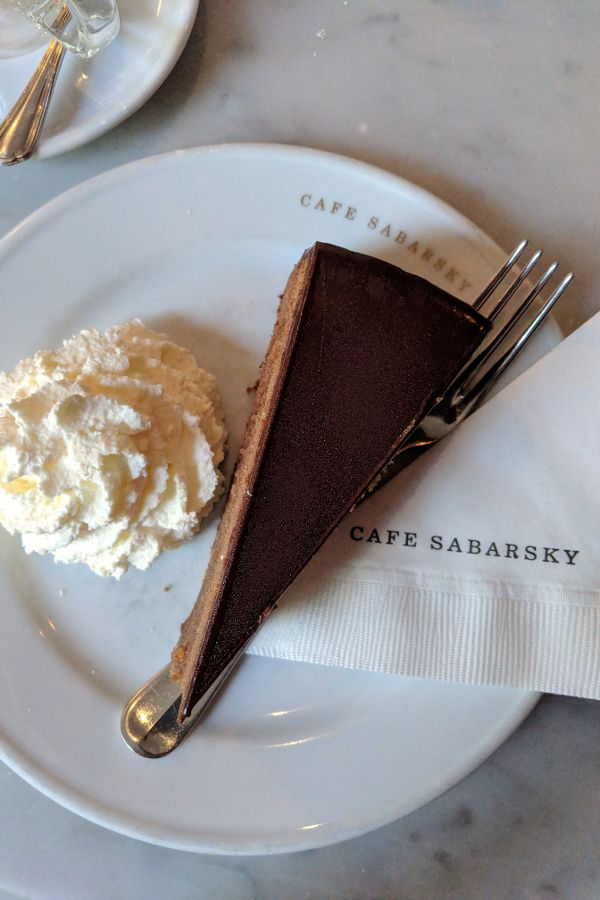 A slice of Sachertorte at Cafe Sabarsky in the Neue Galerie.
