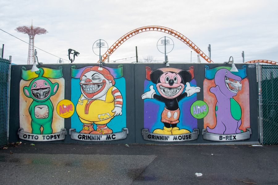 Ron English's Coney Island Grinnies at Coney Art Walls in winter.