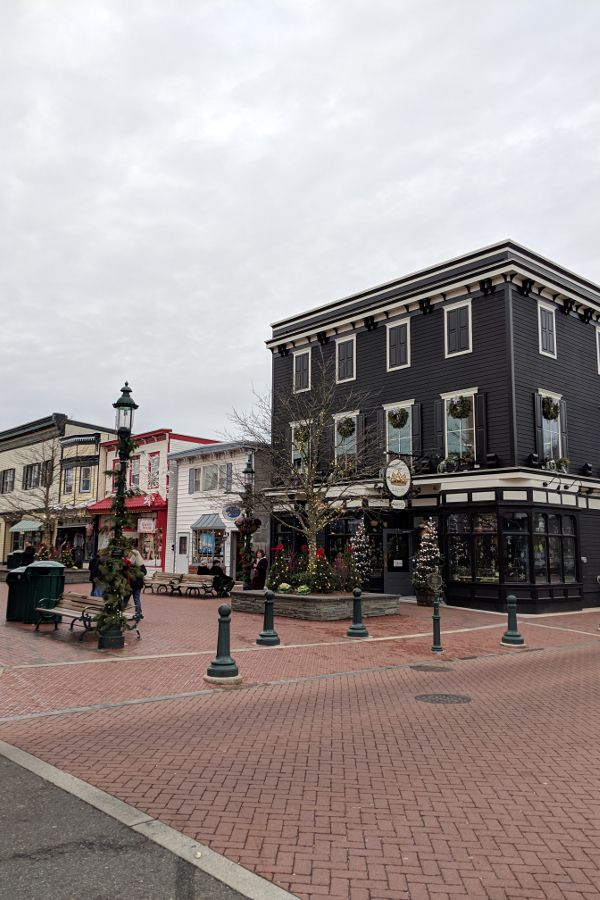 Downtown Cape May decorated for Christmas.