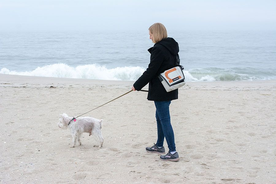 Dog and woman exploring the beaches as part of a Cape May dog-friendly vacation.