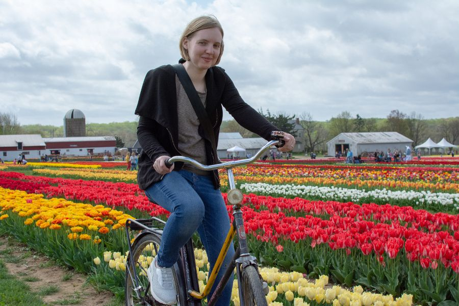 Holland Ridge Farms Tulip Festival transports visitors to the Netherlands with bikes and tulips.