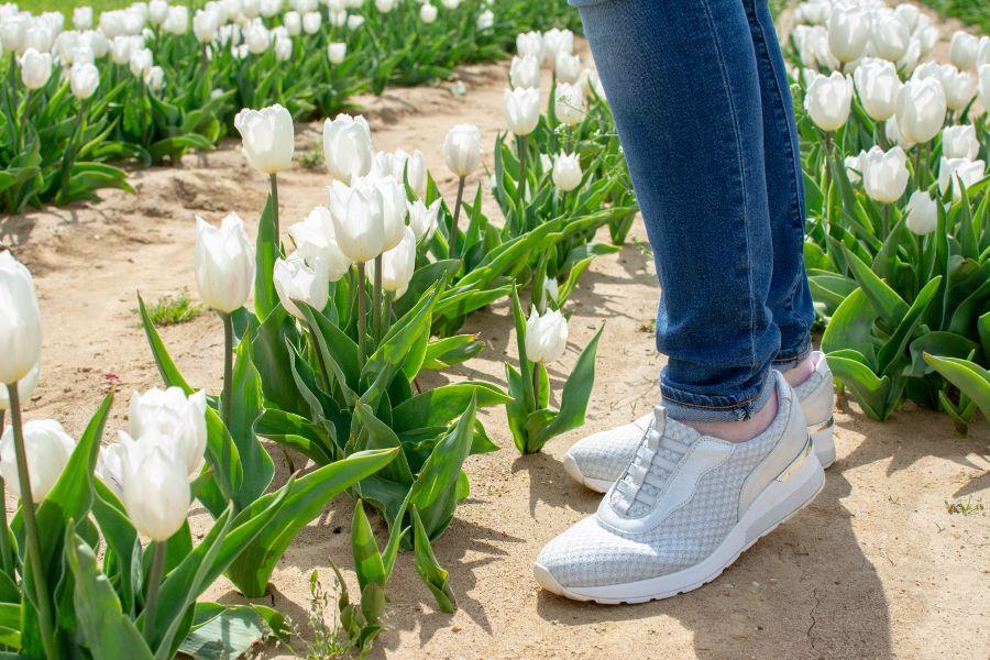 Waldlaufer India H Clara silver knit stretch sneakers.