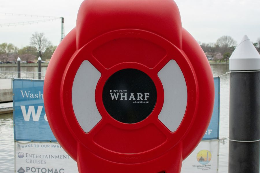 A life preserver at District Wharf in Washington, DC.