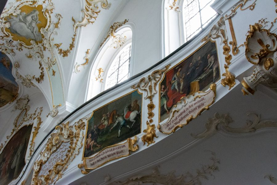 An ornately decorated balcony inside the Andechs church.
