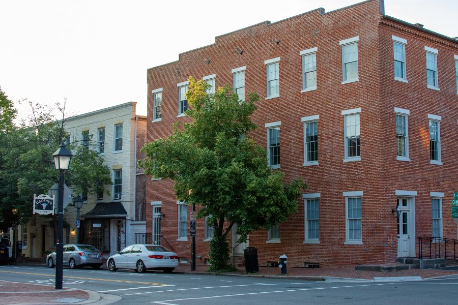 A block of historic buildings on Cameron Street in Old Town Alexandria.