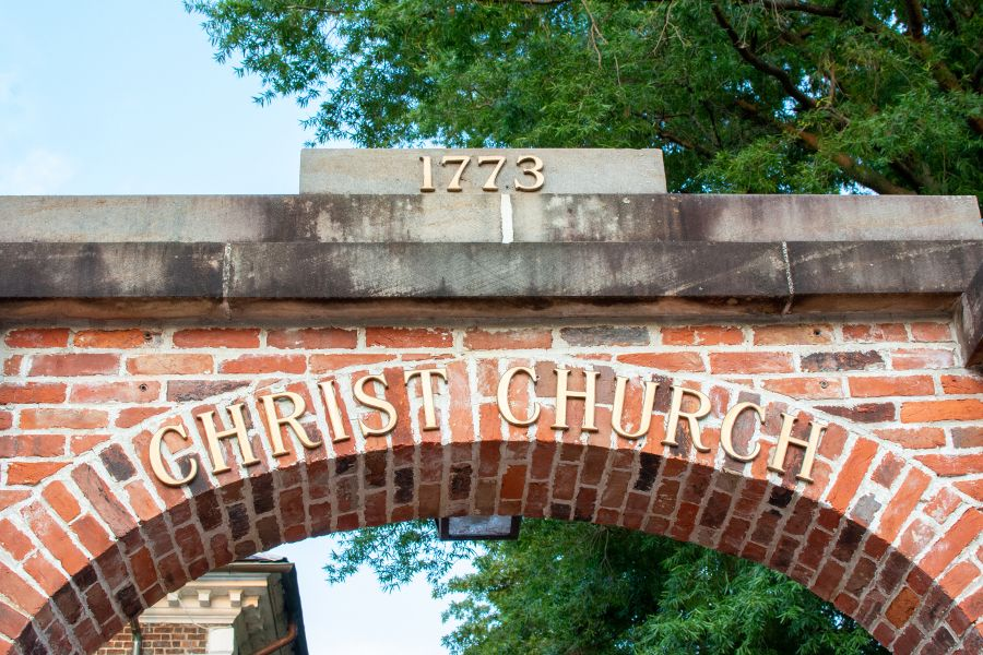 Brick arch at the historic Christ Church in Alexandria.