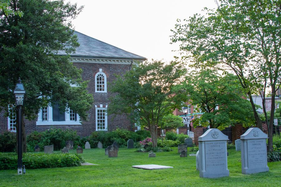Cemetery at the historic Christ Church in Old Town Alexandria.