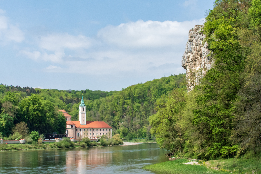 Kloster Weltenburg sits along the Donaudurchbruch, or Donau River Gorge, near Kelheim, Germany.