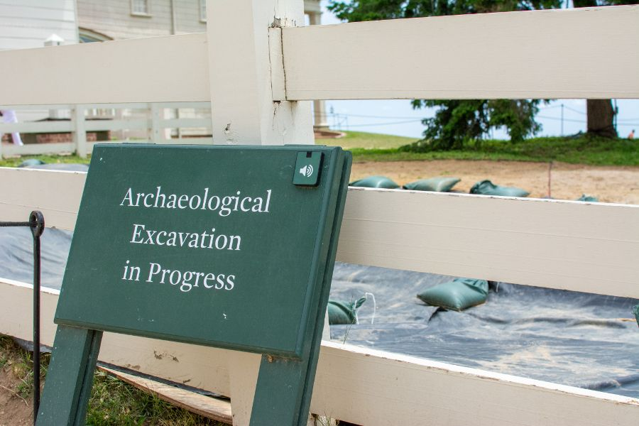 An archaeological excavation sign at Mount Vernon.