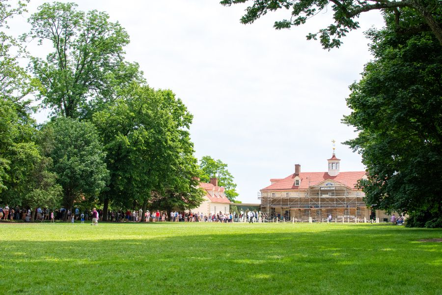 Bowling Green field lies before the mansion at Mount Vernon.