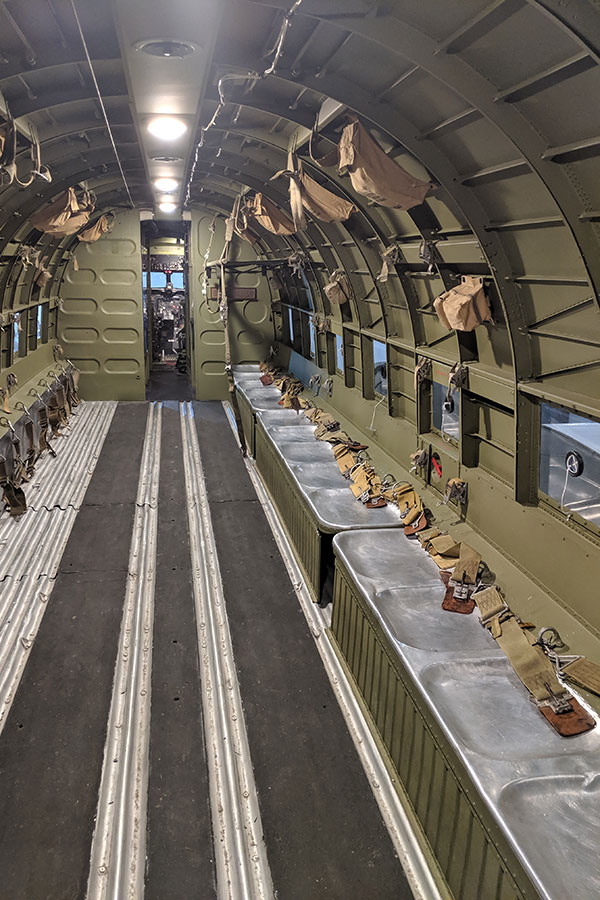 Inside of a C-47A Skytrain that served on D-Day.