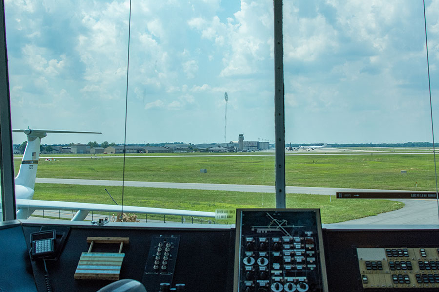 A view of the Dover Air Force Base from inside the control tower at the Air Mobility Command Museum.