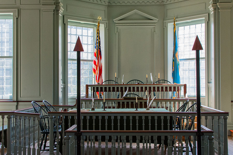 A courtroom in the Old State House in Dover.