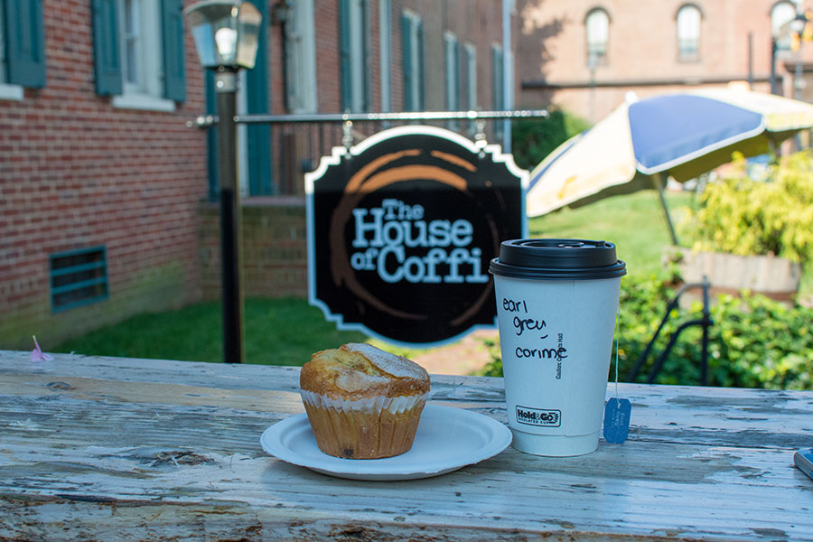 Drop by Dover's House of Coffi for a cup of tea or coffee and a delicious blueberry muffin.