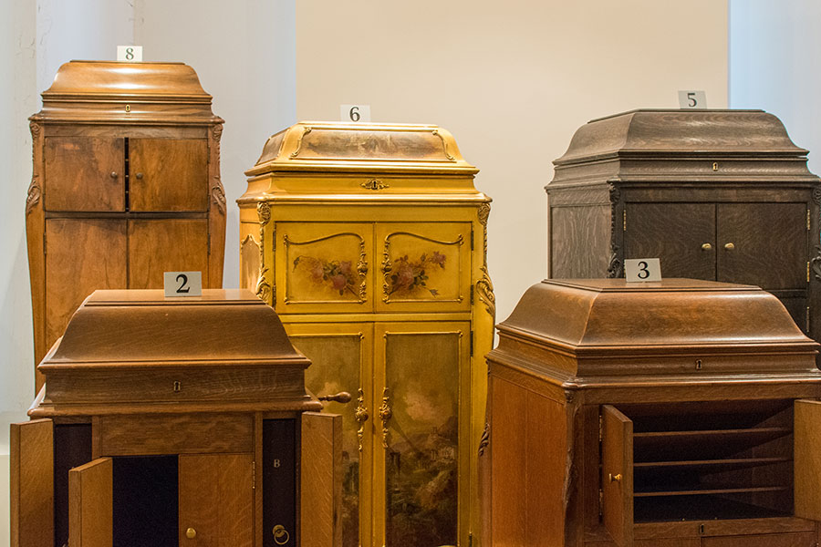 A collection of decorative Victrolas at the Johnson Victrola Museum.