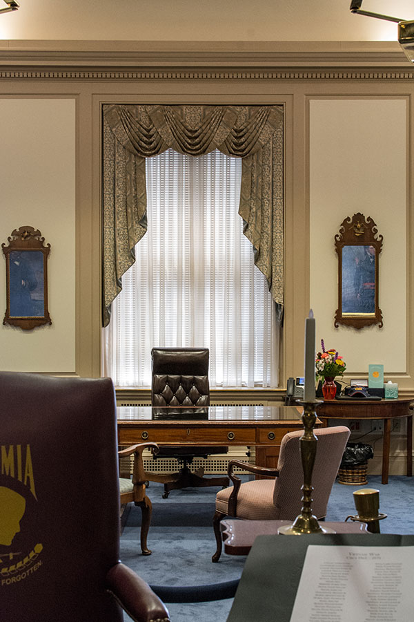 Delaware Governor's Office in Legislative Hall and the POW-MIA chair.