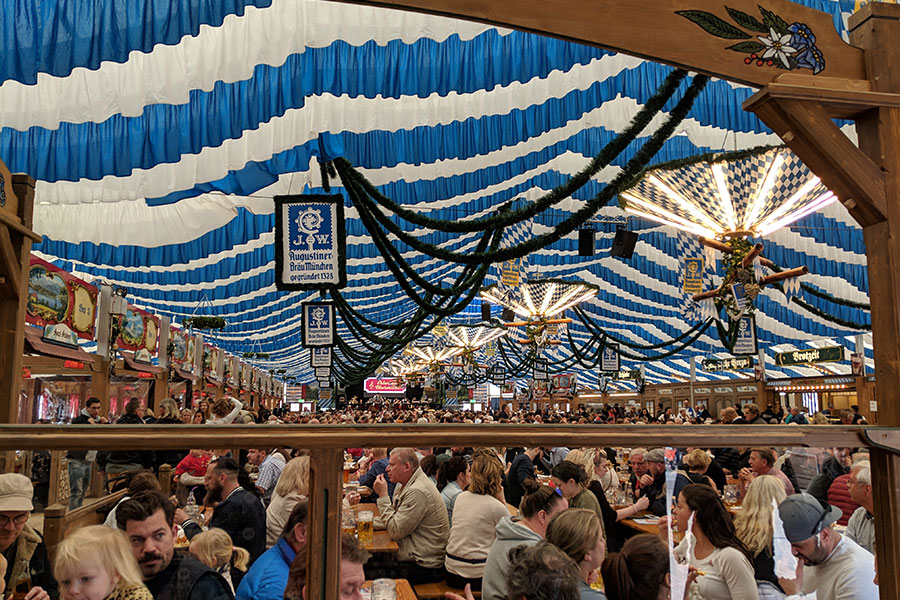 Inside the Festhalle Bayernland beer tent at Munich Frühlingsfest.