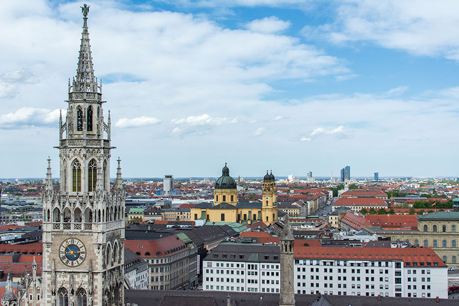 A view over northern Munich from the Alter Peter Tower.