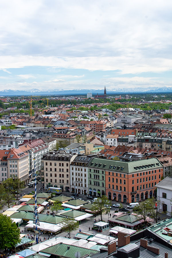 A view of the Alps over Viktualienmarkt from St. Peter's Church tower.