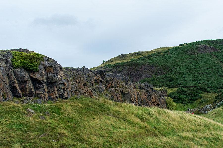 Wind-swept rocky hills in Holyrood Park around Arthur's Seat.