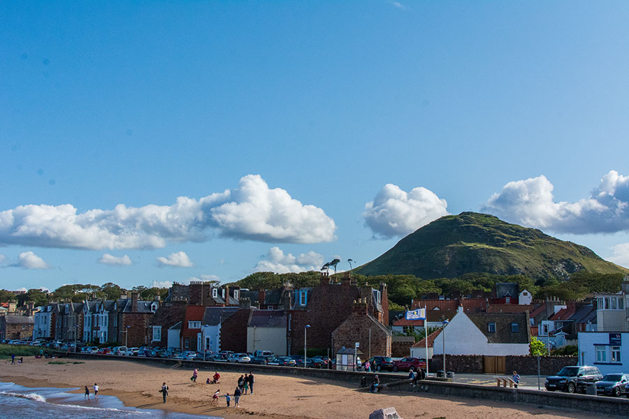 The North Berwick beach sits with Berwick Law in the background.