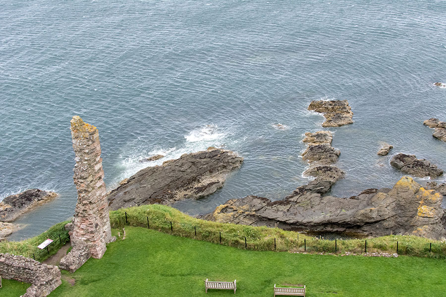 A look on to the sea from the top of Tantallon Castle tower.